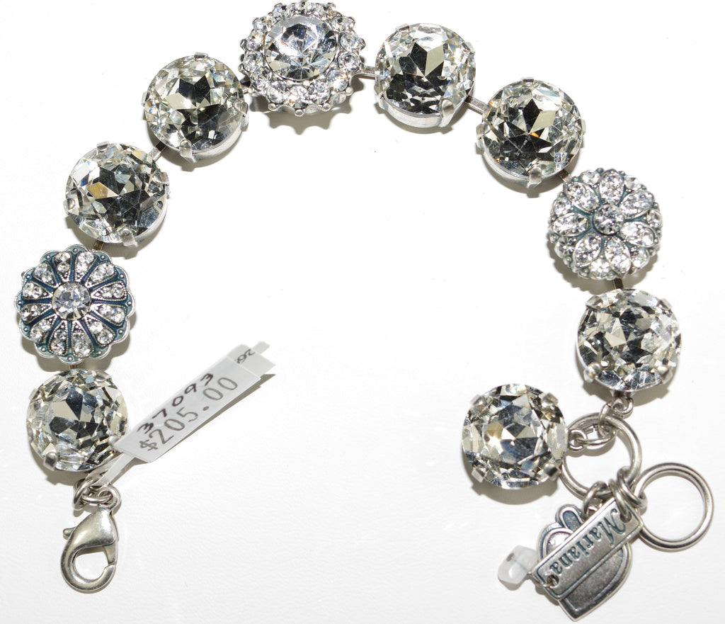 "MARIANA BRACELET ON A CLEAR DAY: clear large 5/8"" stones in silver setting"