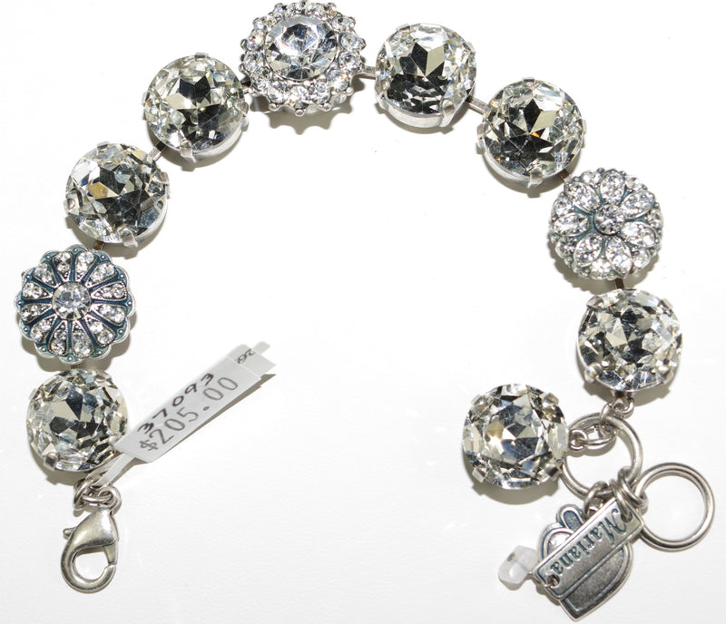 "MARIANA BRACELET ON A CLEAR DAY: clear large 5/8"" stones in silver rhodium setting"