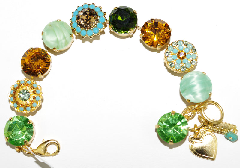 "MARIANA BRACELET RISING SUN: green, amber, turq, 5/8"" large stones in yellow gold setting"