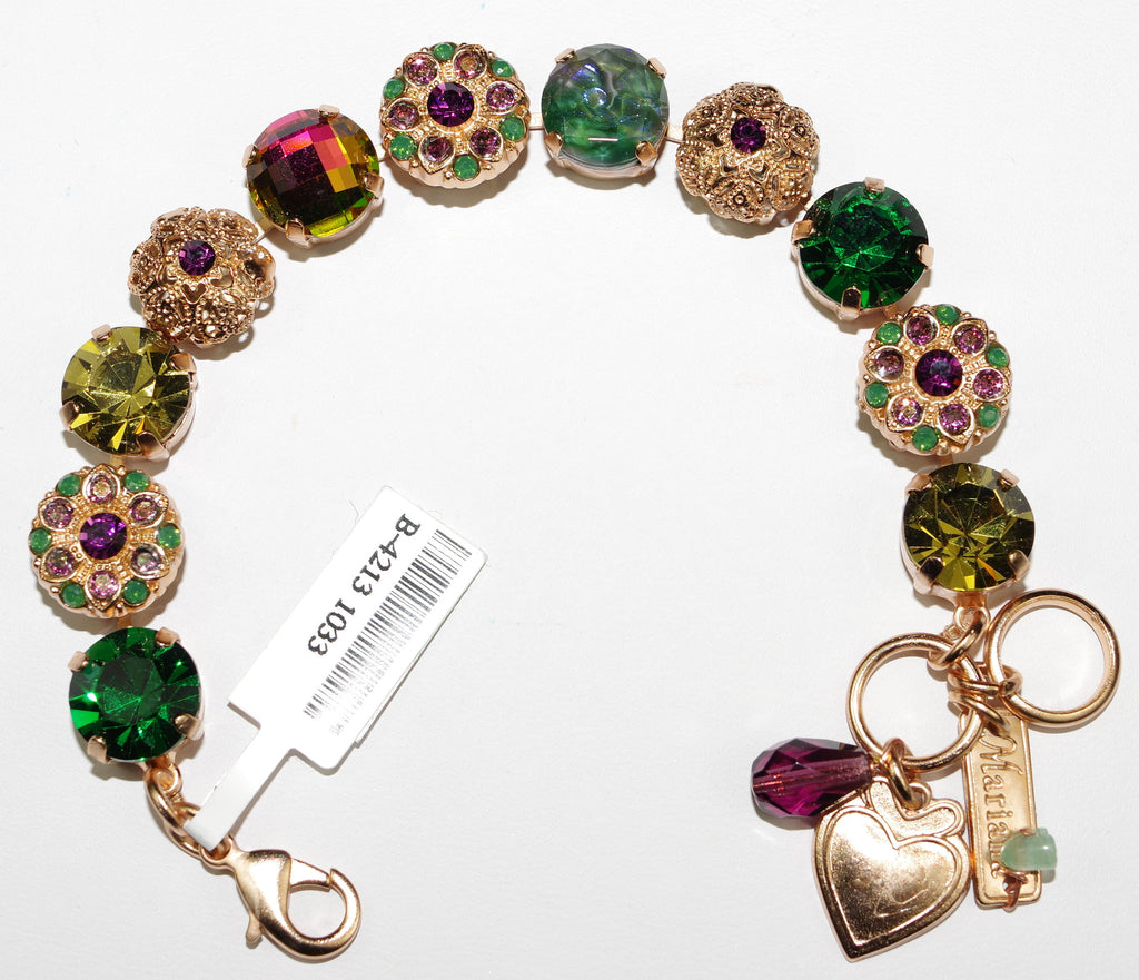 MARIANA BRACELET LUCK pink, green, purple stones in rose gold setting