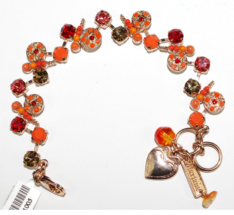 MARIANA BRACELET RING OF FIRE: red, orange, amber stones in rose gold setting