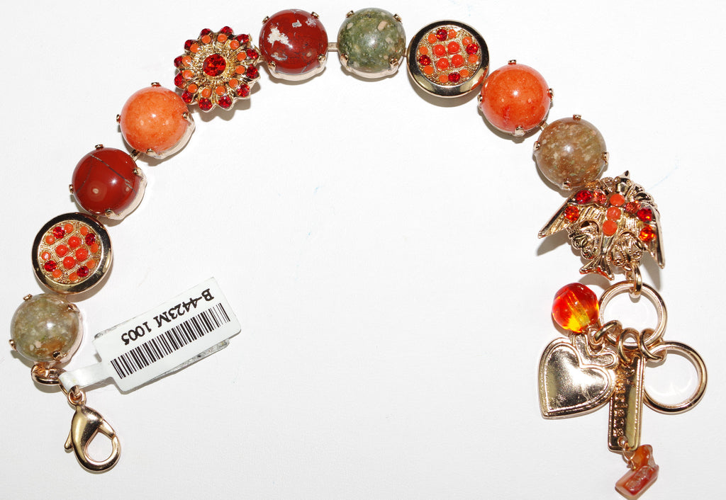 MARIANA BRACELET RING OF FIRE: orange, red, green stones in rose gold setting