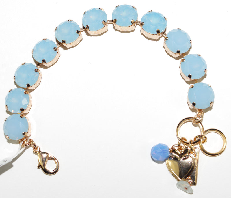 MARIANA BRACELET PALE BLUE: pale blue stones in rose gold setting