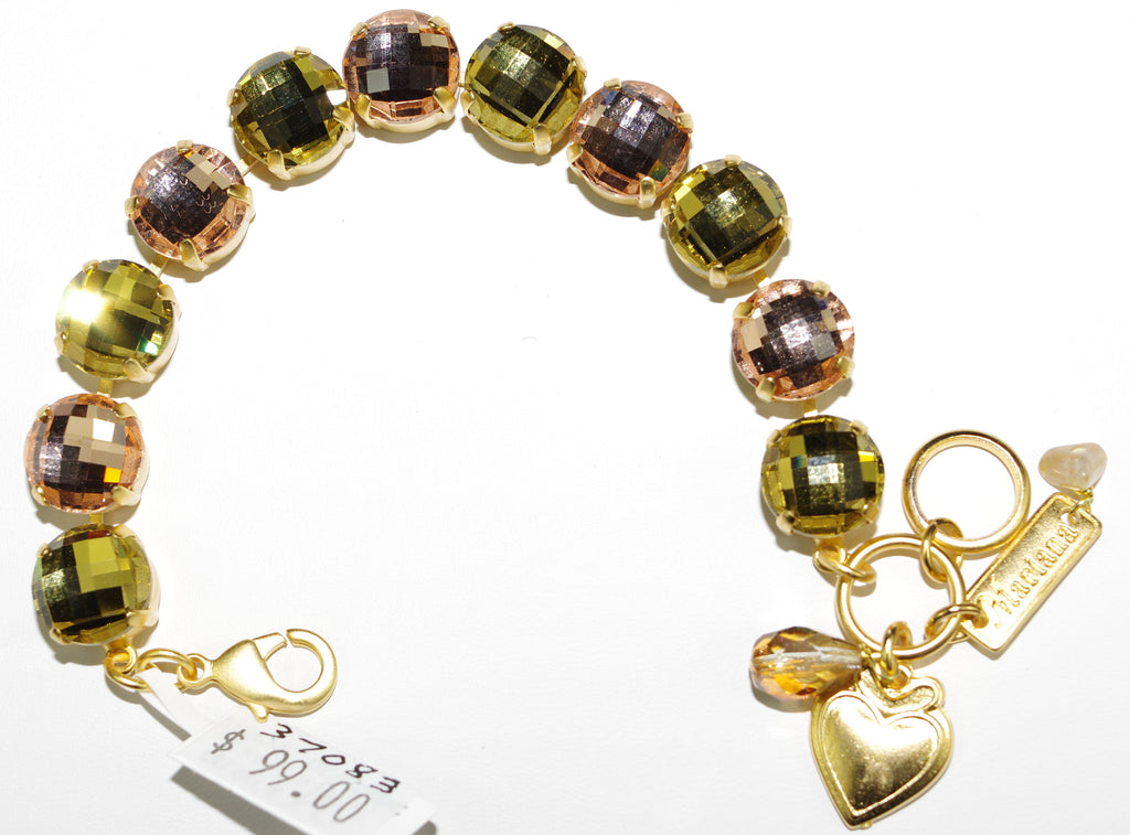 MARIANA BRACELET JACKIE: peach, green stones in yellow gold setting