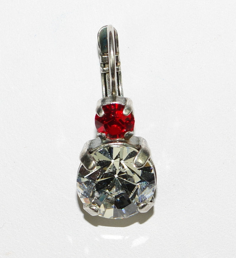 MARIANA EARRINGS CLEAR/RED AUDREY: large clear stone, bright red small stone in silver setting, lever back