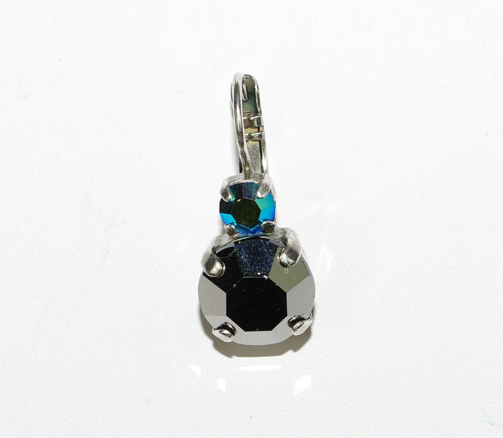 MARIANA EARRINGS GALAXY: large hemitite stone, small blue a/b stone in silver setting, lever back