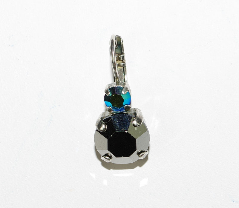 MARIANA EARRINGS GALAXY AUDREY: large hemitite stone, small blue a/b stone in silver setting, lever back