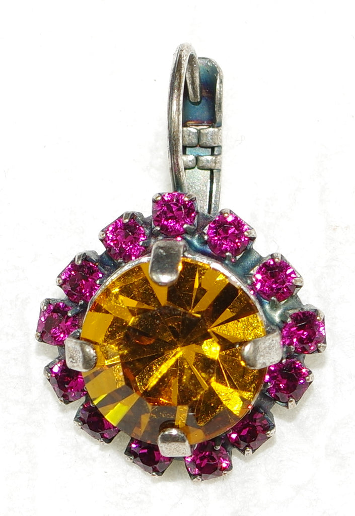 MARIANA EARRINGS HAPPY DAYS: amber, fucshia stones in silver setting, lever back