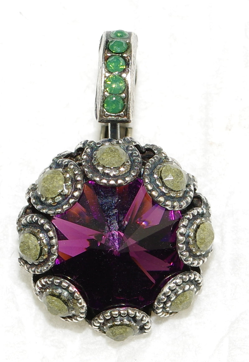 "MARIANA EARRINGS PATIENCE XOXO: purple, green, teal stones in 1"" silver setting, lever back"