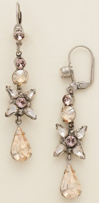 "SORRELLI EARRINGS DELICATE FLOWERS: teardrop crystal, floral design, in 2 3/8"" antique silver setting, lever backs"