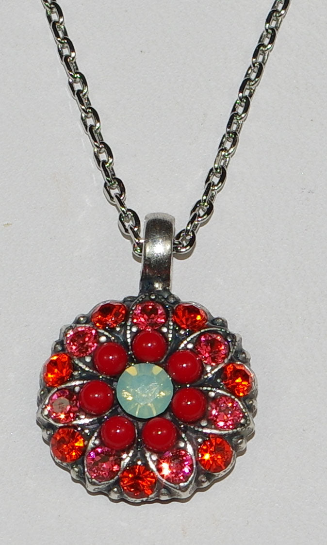 "MARIANA ANGEL PENDANT MYRHH: orange, pacific opal, red stones in silver setting, 18"" adjustable chain"