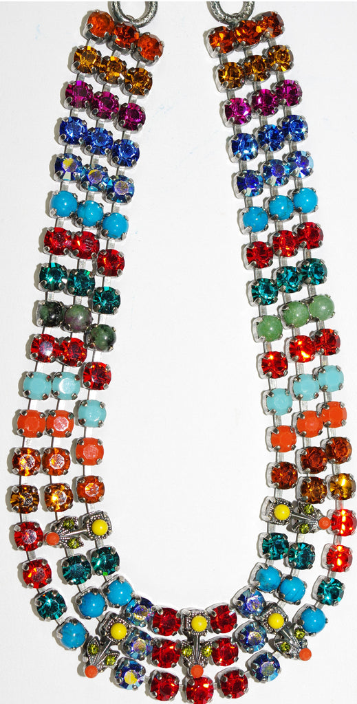 "MARIANA NECKLACE FANTASY: red, blue, amber, turq, yellow stones, 3-strands, in silver setting, 20"" adjustable chain"