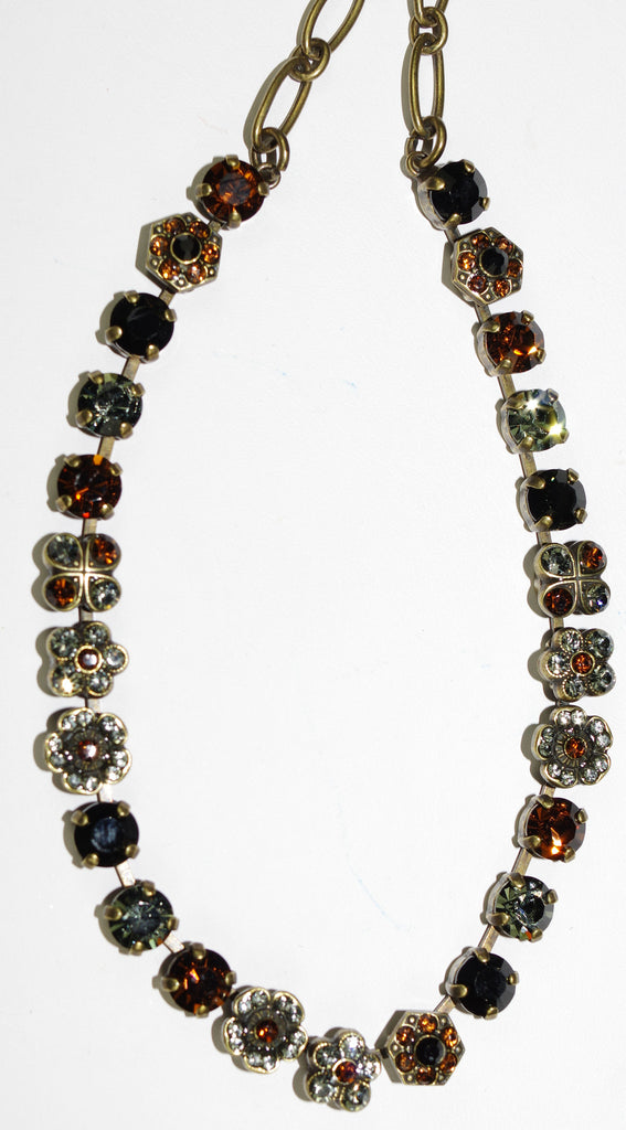 "MARIANA NECKLACE ELEGANCE: black, amber, taupe stones in antique gold setting, 16"" adjustable chain"