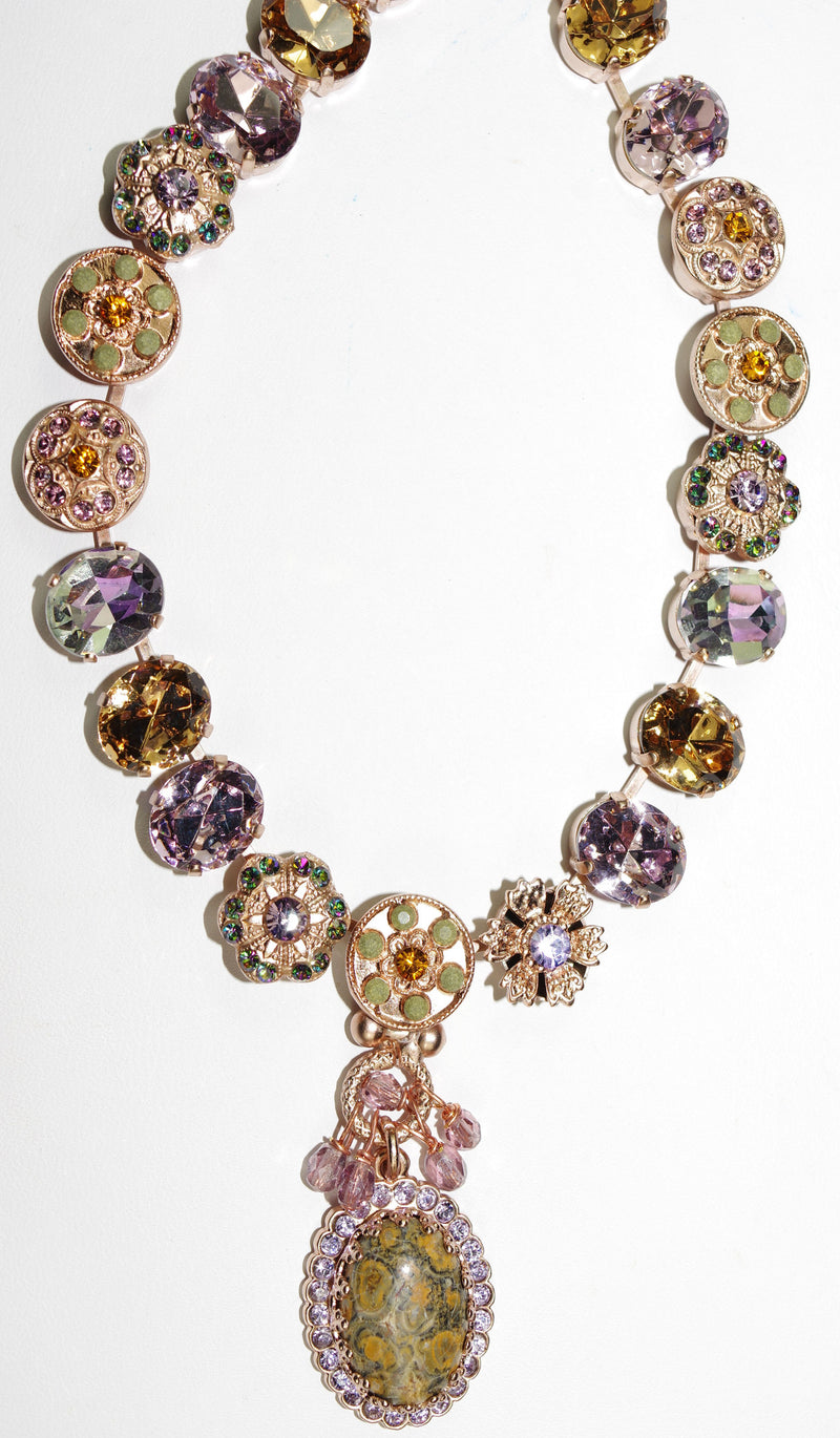 "MARIANA NECKLACE AUDREY: lavender, green, amber stones in rose gold setting, 20"" adjustable chain"