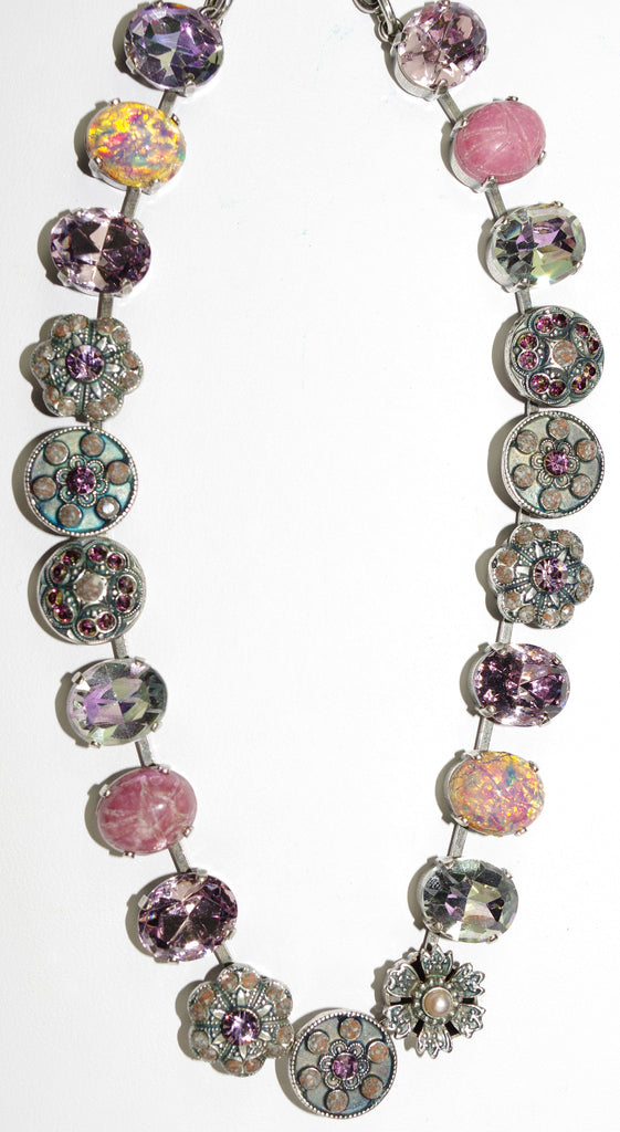 "MARIANA NECKLACE ELIZABETH: pink, grey, pearl stones in silver setting, 18"" adjustable chain"