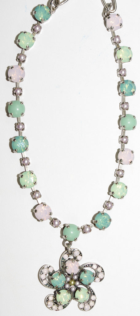 "MARIANA NECKLACE MORNING GLORY: pink, green, pearl, pacific opal stones in silver setting, 20"" adjustable chain"