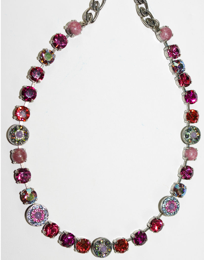 "MARIANA NECKLACE JOY: pink, blue, purple stones in silver setting, 17"" adjustable chain"