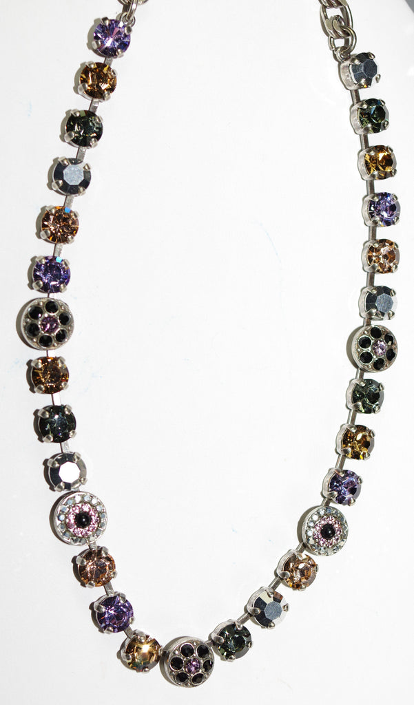 "MARIANA NECKLACE DISCOVER: black, pink, amber stones in silver setting, 17"" adjustable chain"