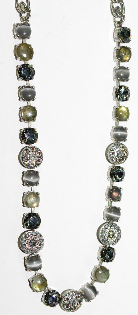 MARIANA NECKLACE LUXURY grey,taupe, amber stones in silver setting
