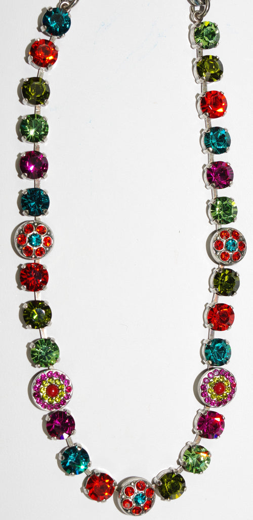 "MARIANA NECKLACE TIGER LILLY: orange, fuschia, blue, green stones in silver setting, 17"" adjustable chain"