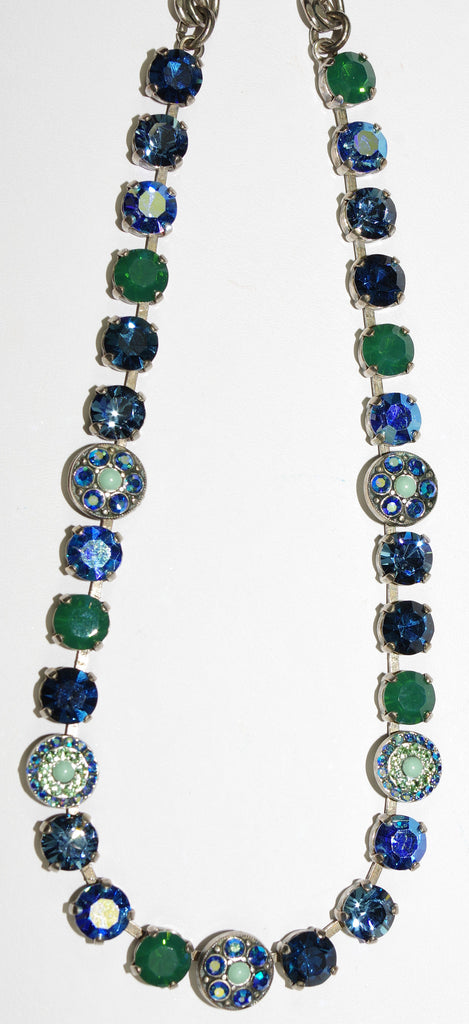 "MARIANA NECKLACE MEDITERREANIAN BLUE: blue, green, a/b stones in silver setting, 18"" adjustable chain"