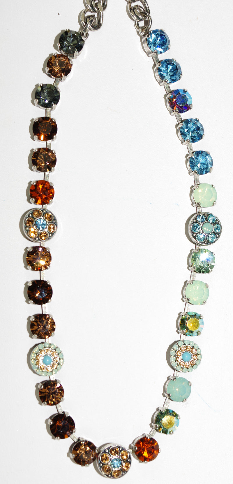 "MARIANA NECKLACE FORGET ME NOT: blue, amber, pacific opal stones in silver setting, 18"" adjustable chain"