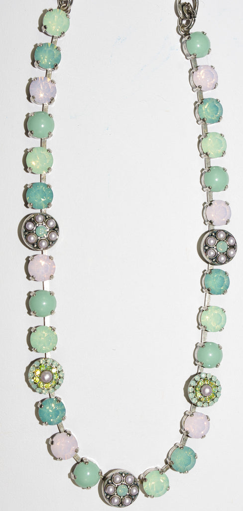 "MARIANA NECKLACE MORNING GLORY: pink, green, pearl, pacific opal stones in silver setting, 17"" adjustable chain"