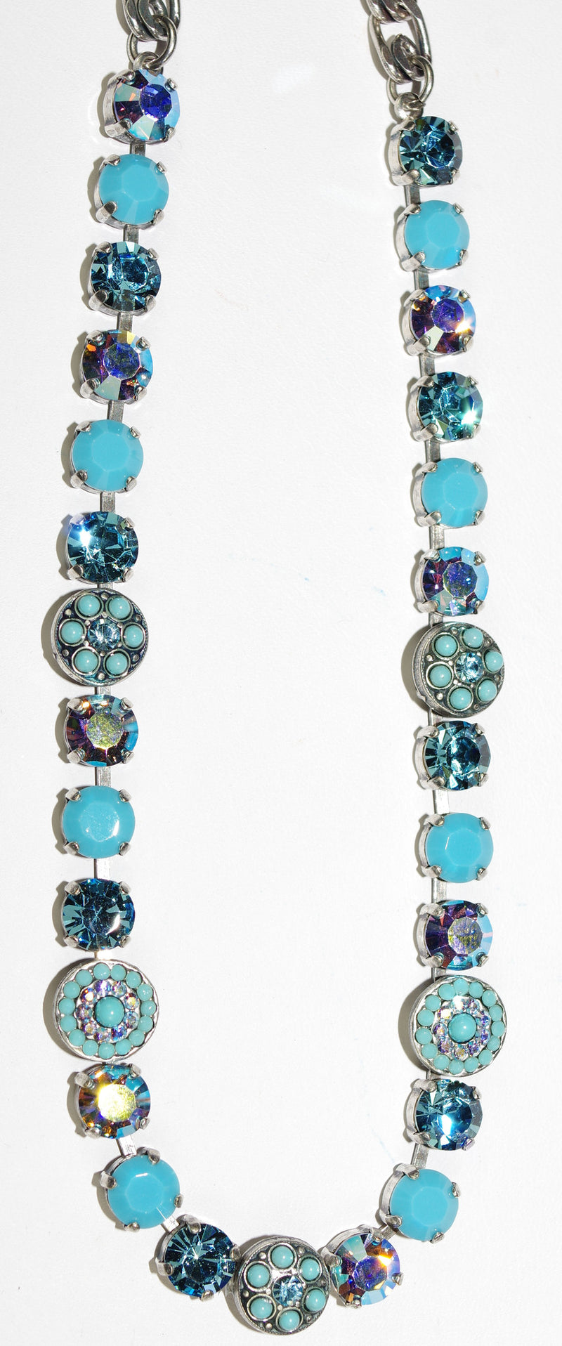 "MARIANA NECKLACE BLISS: turq, blue, a/b stones in silver setting, 17"" adjustable chain"