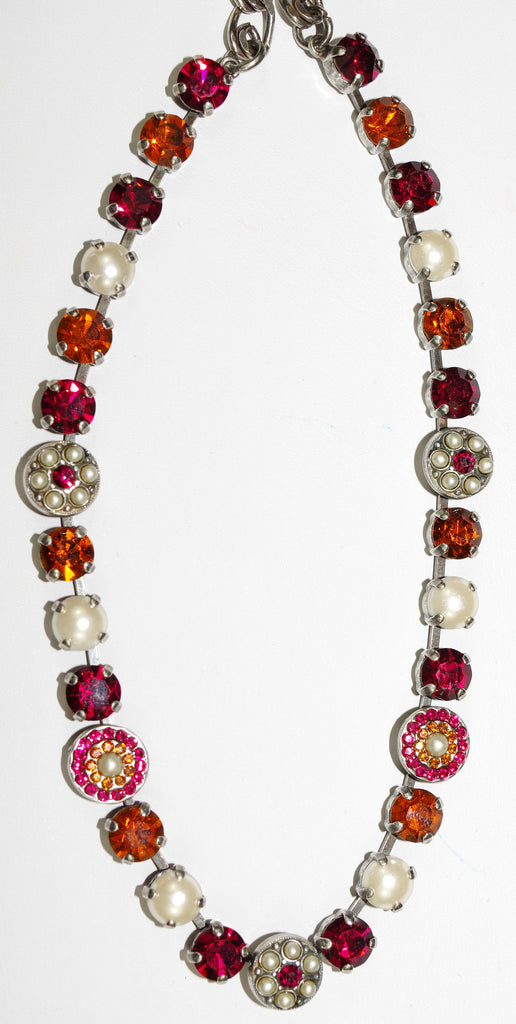 "MARIANA NECKLACE PASSION: red, amber, pearl stones in silver setting, 18"" adjustable chain"