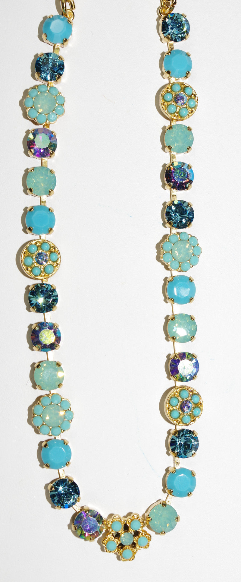 "MARIANA NECKLACE CINDY: blue, turq, pacific opal a/b stones in yellow gold setting, 18"" adjustable chain"