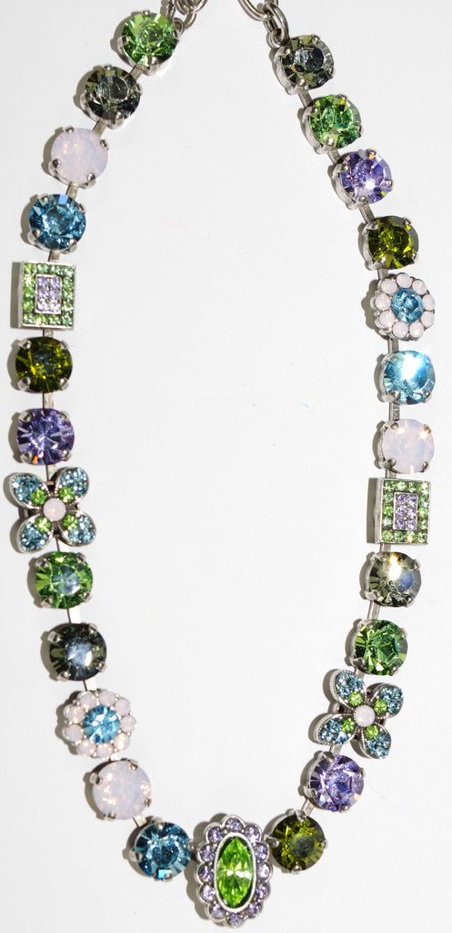 "MARIANA NECKLACE: pink, blue, green, lavender stones in silver setting, 18"" adjustable chain"