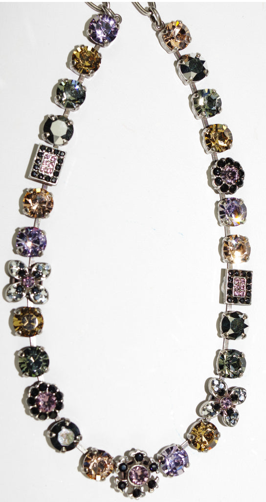 "MARIANA NECKLACE DISCOVER: pink, black, amber, taupe stones in silver setting, 18"" adjustable chain"