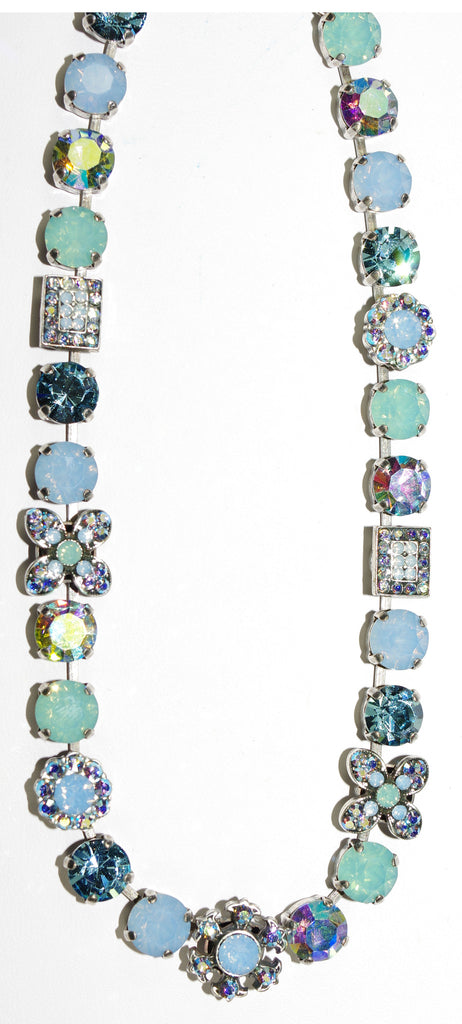 "MARIANA NECKLACE DIANA: blue, a/b, pacific opal, aqua stones in silver setting, 17"" adjustable chain"