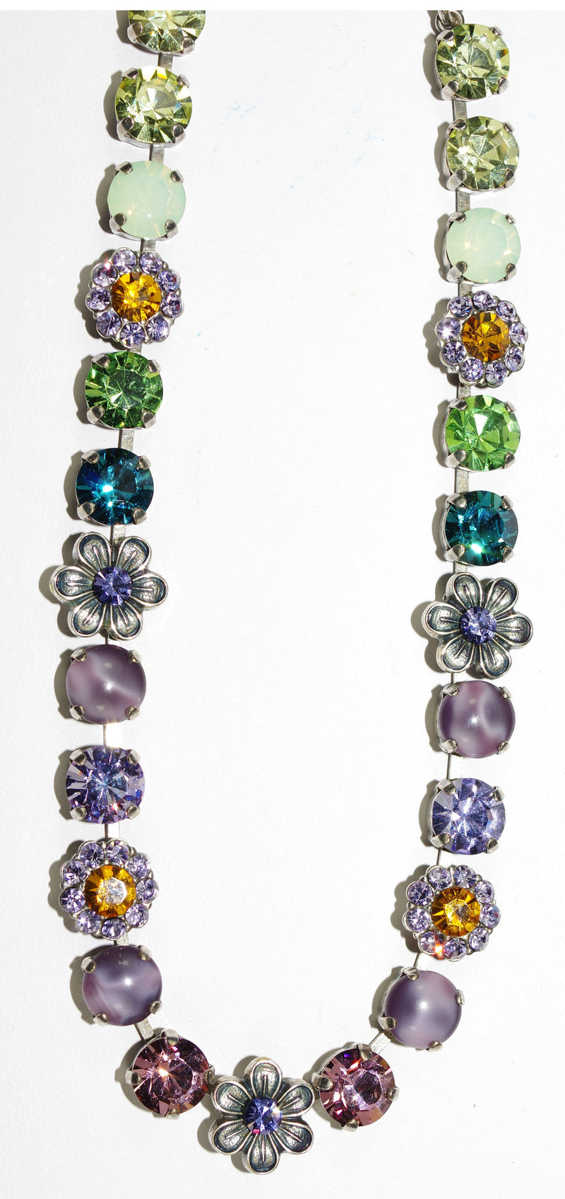 "MARIANA NECKLACE LILAC: lavender, green, blue, amber, pink stones in silver setting, 18"" adjustable chain"