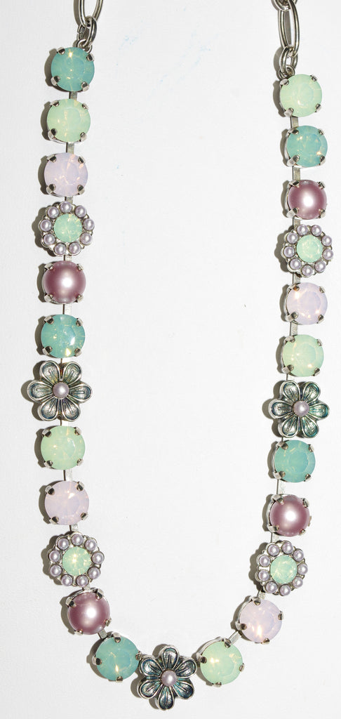 "MARIANA NECKLACE MORNING GLORY: pink, green, pacific opal, pearl stones in silver setting, 17"" adjustable chain"
