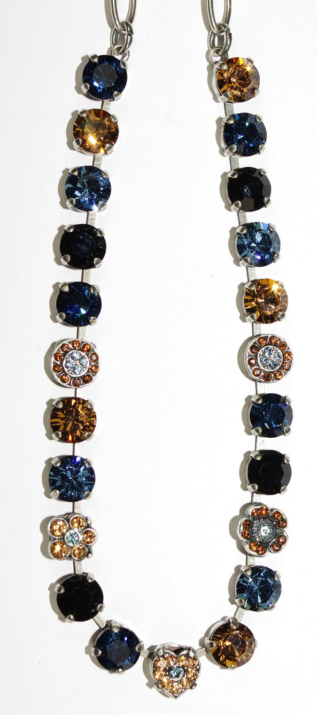 "MARIANA NECKLACE VENETIAN NIGHT: blue, amber, black stones in silver setting, 17"" adjustable chain"