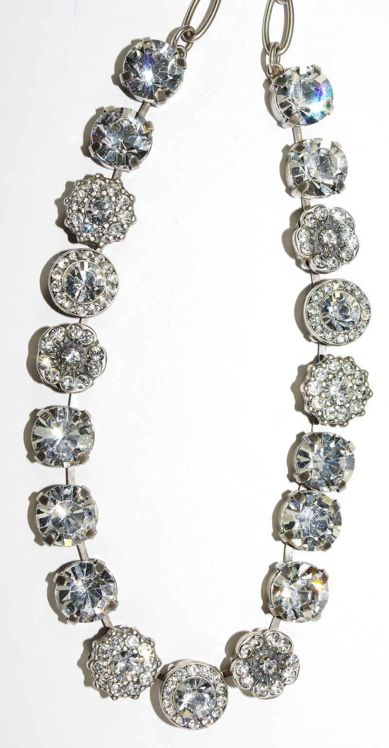"MARIANA NECKLACE ON A CLEAR DAY SOPHIA: clear stones in silver setting, 16"" adjustable chain"