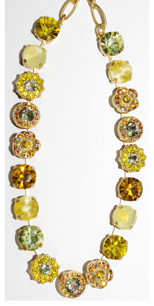"MARIANA NECKLACE YELLOW BRICK ROAD: yellow, amber, a/b stones in yellow gold setting, 16"" adjustable chain"
