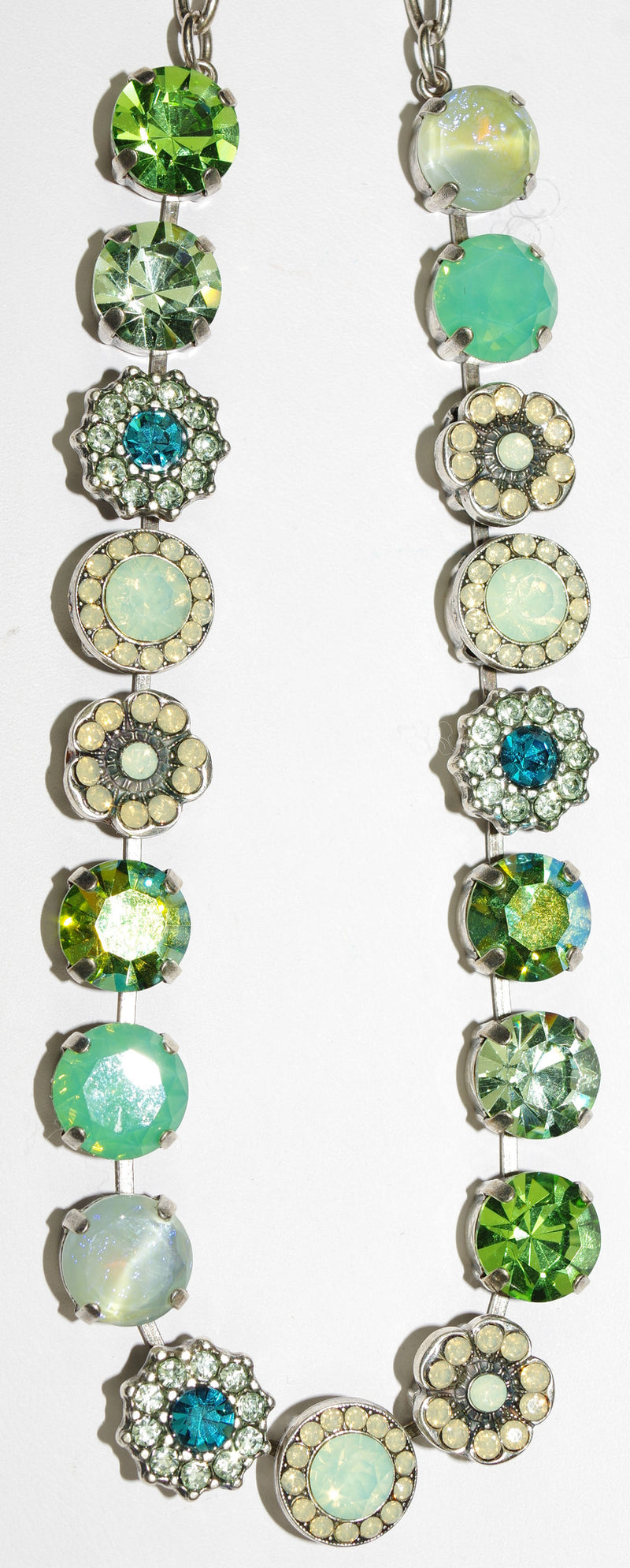 "MARIANA NECKLACE GRACE SOPHIA: green, white, pacific opal stones in silver setting, 18"" adjustable chain"
