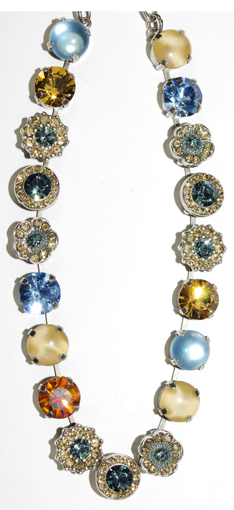 "MARIANA NECKLACE MOON DROPS: blue, amber, beige stones in silver setting, 17"" adjustable chain"