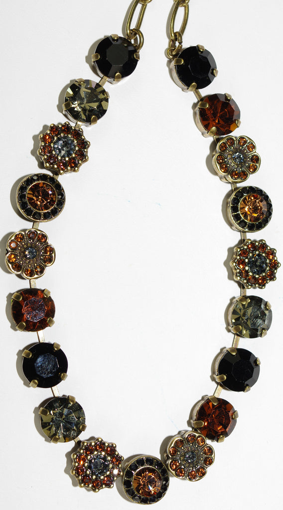 "MARIANA NECKLACE ELEGANCE: black, amber, taupe stones in antique gold setting, 18"" adjustable chain"