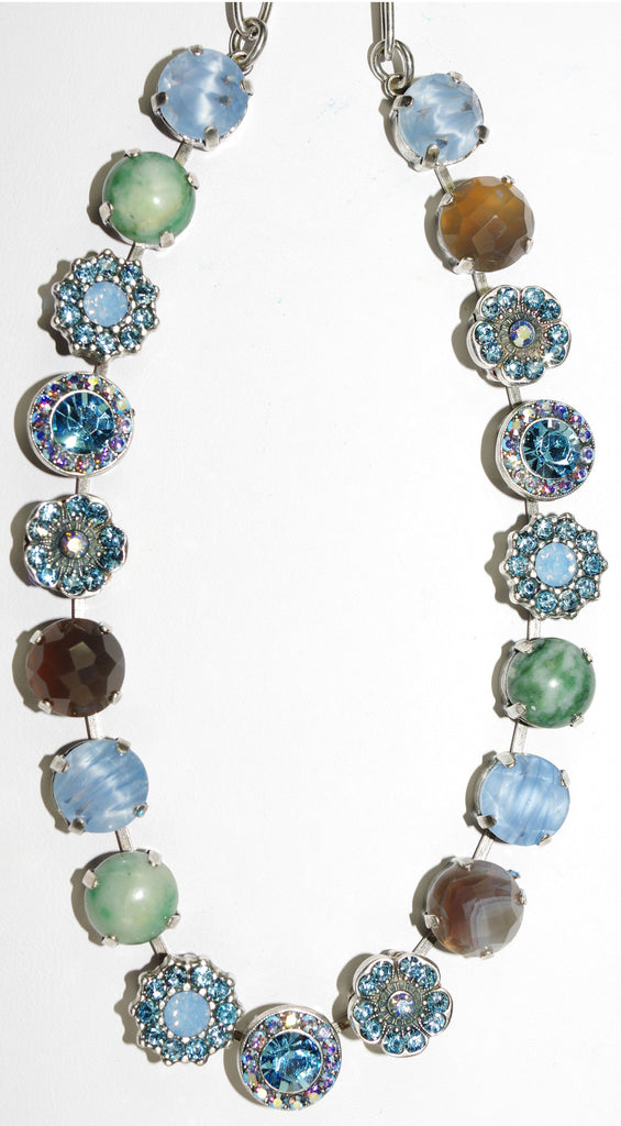 "MARIANA NECKLACE DIANA: blue, green, a/b, taupe stones in silver setting, 17"" adjustable chain"