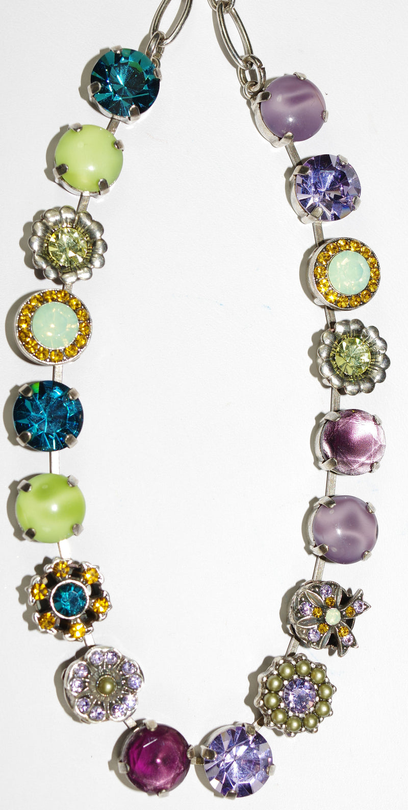 "MARIANA NECKLACE LILAC: lavender, green, blue, amber stones in silver setting, 18"" adjustable chain"