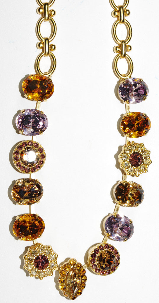 "MARIANA NECKLACE DREAM amber, pink, topaz clear stones in yellow gold setting, 18"" adjustable chain"