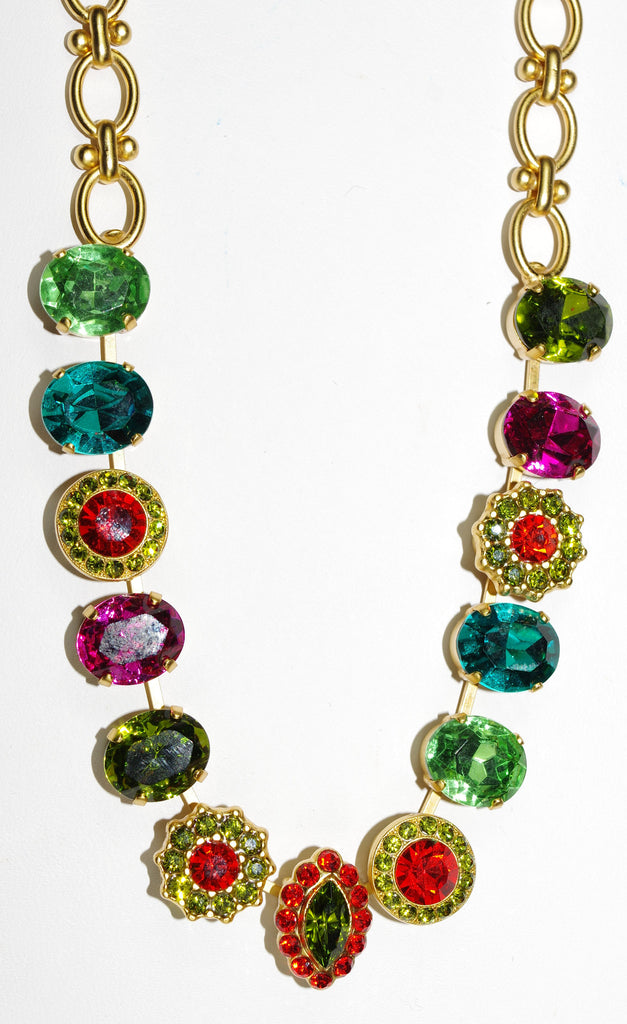 "MARIANA NECKLACE TIGER LILLY: orange, fuschia, green, blue stones in yellow gold setting, 18"" adjustable chain"