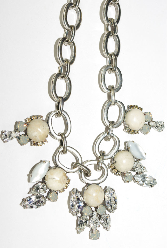 "MARIANA NECKLACE CHAMPAGNE/CAVIAR: clear, white, cream stones in silver setting, 22"" adjustable chain"