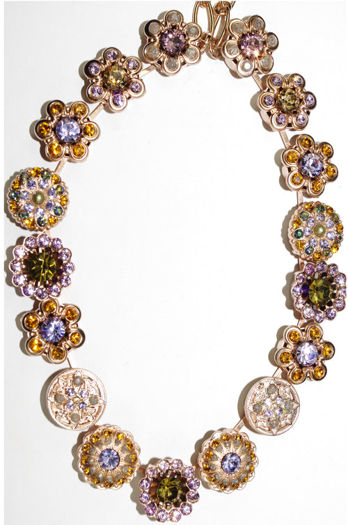 "MARIANA NECKLACE AUDREY: lavender, topaz, green stones in rose gold setting, 16"" adjustable chain"