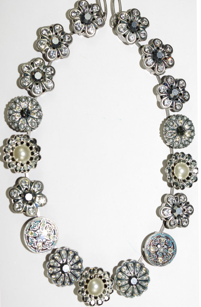 "MARIANA NECKLACE GARDENIA: white, pearl, clear, taupe stones in silver setting, 16"" adjustable chain"