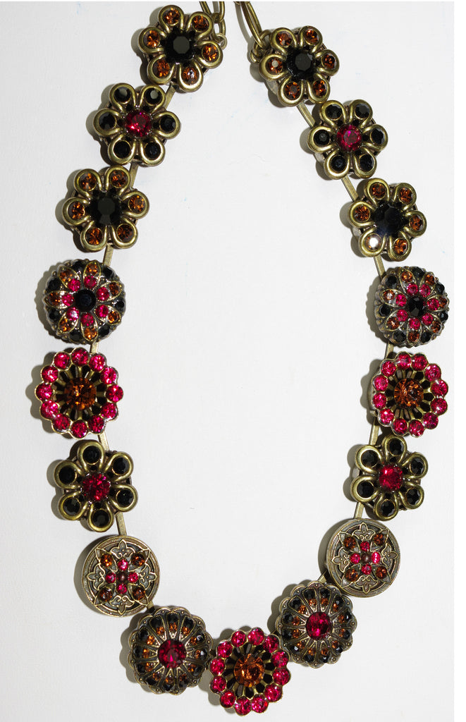 "MARIANA NECKLACE RED STILETTO: red, black, amber stones in antique gold setting, 16"" adjustable chain"