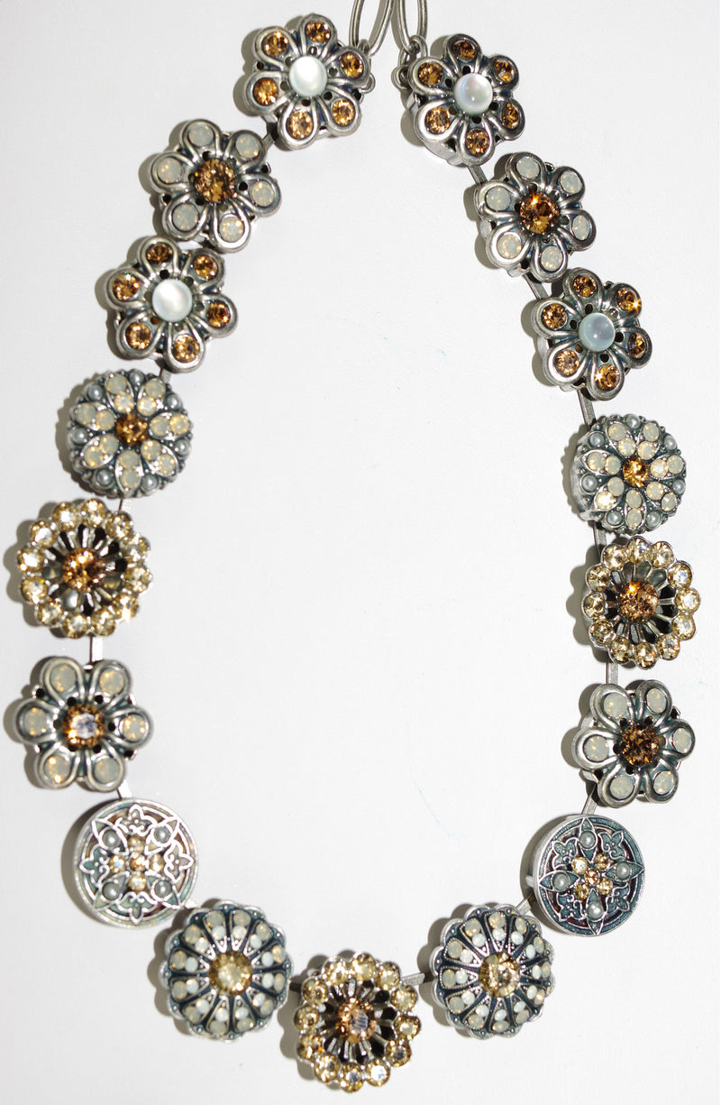 "MARIANA NECKLACE CHAMPAGNE/CAVIAR: amber, white, moon stones in silver setting, 16"" adjustable chain"